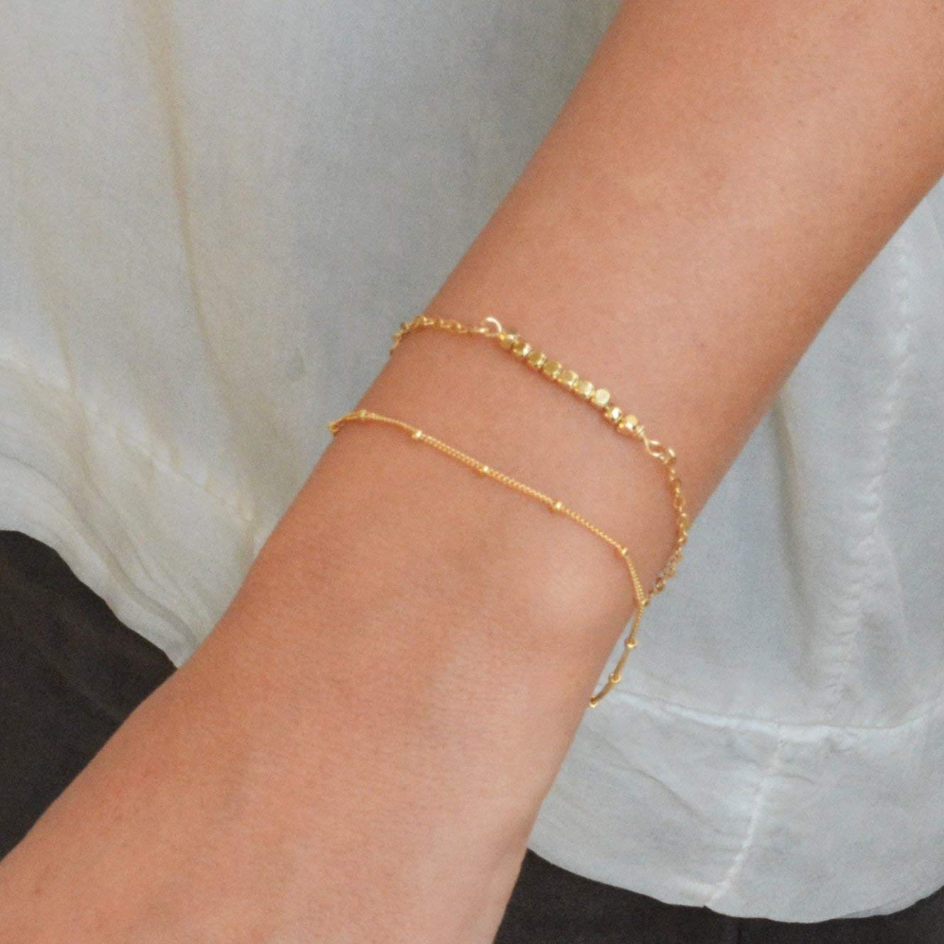 Gold Filled Satellite Chain Bracelet Dainty Thin Layering Length 15 cm extension