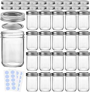 KAMOTA Mason Jars, 8 oz Glass Jars With Regular Lids and Bands, Ideal for Jam, Honey, Wedding Favors, Shower Favors, Baby Foods, DIY Magnetic Spice Jars, 20 PACK, Extra 20 Lids & 30 Whiteboard Labels