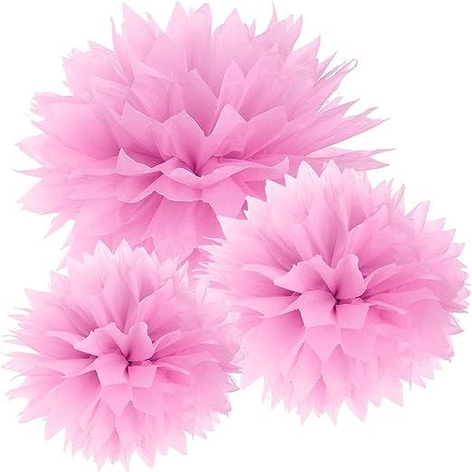 Surepromise 30er Pink Papier Pompom Blumen Kugel 20//25//37cm Hochzeit Garten Wohnung Fest Feier Party Geburtstag Deko