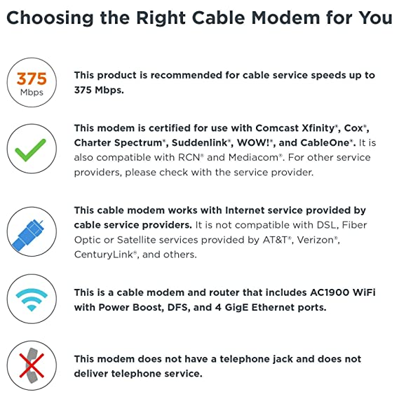 MOTOROLA MG7550 16x4 Cable Modem Plus AC1900 Dual Band WiFi Gigabit Router  with Power Boost and DFS, 686 Mbps Maximum DOCSIS 3 0 - Approved by Comcast