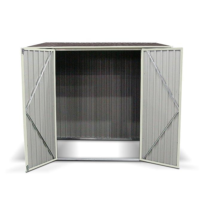 5 x 7 ft Combo Metal jardín caseta PENT roof al aire libre doble puerta cobertizo: Amazon.es: Jardín