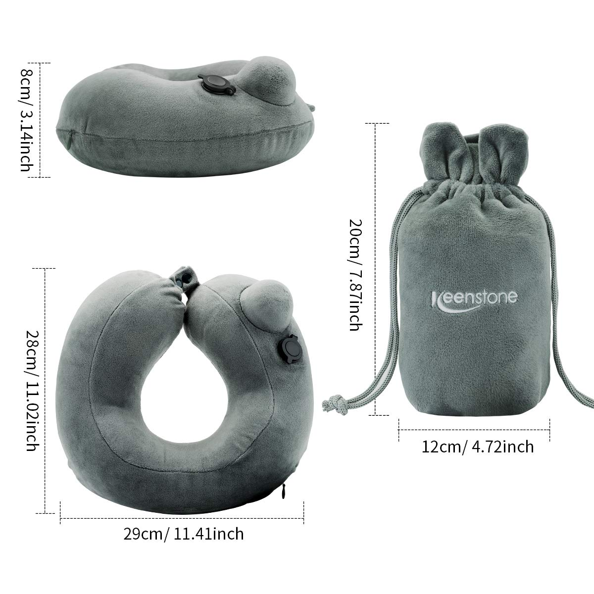 Keenstone Inflatable Neck Travel Pillow, Lightweight Support Camping Pillow with Ear Plugs, Eye Mask and Drawstring Bag, Ergonomic, Patented & Best Adjustable for Airplane, Auto, Bus, Train, Office