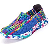 Tribangke Women's Casual Knitted Flat Loafers Woven Mesh Water Shoes