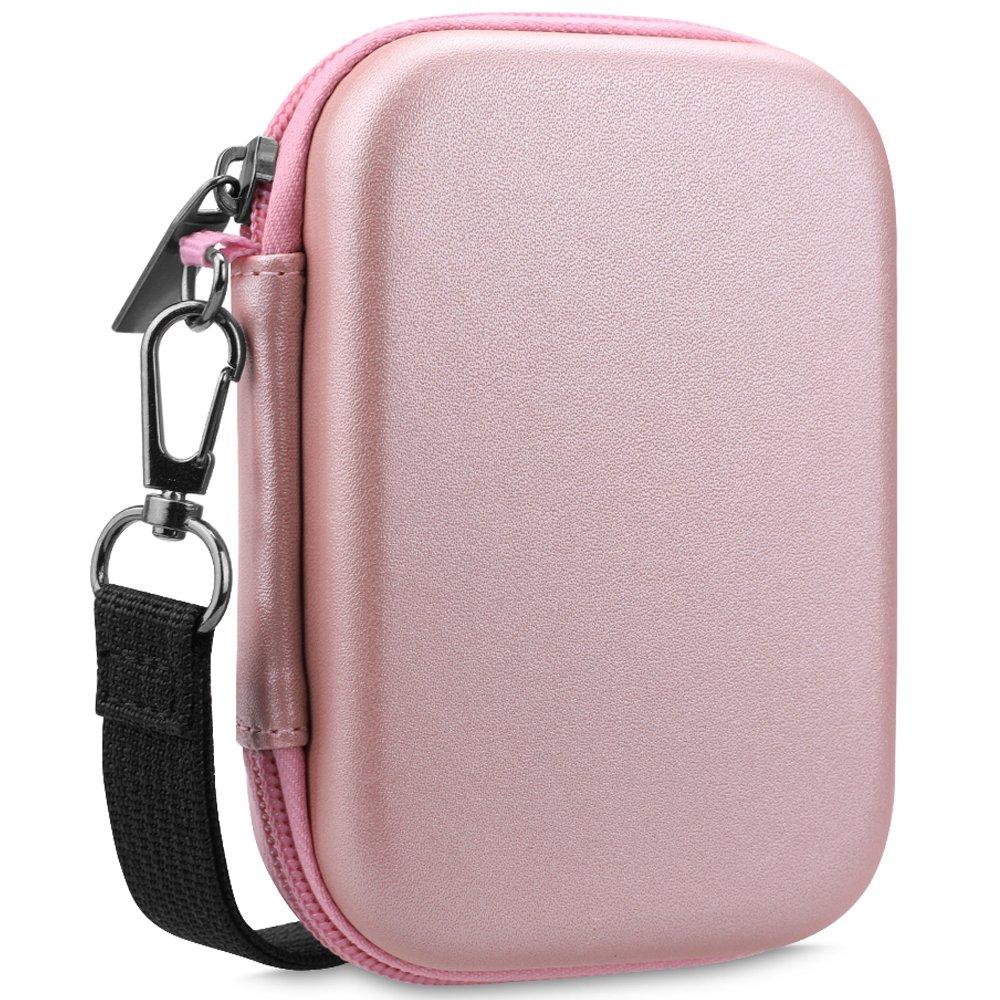 Fintie Carrying Case for HP Sprocket Photo Printer - Hard EVA Shockproof Storage Portable Travel Bag with Inner Pocket/Removable Strap/Metal Hook - Rose Gold