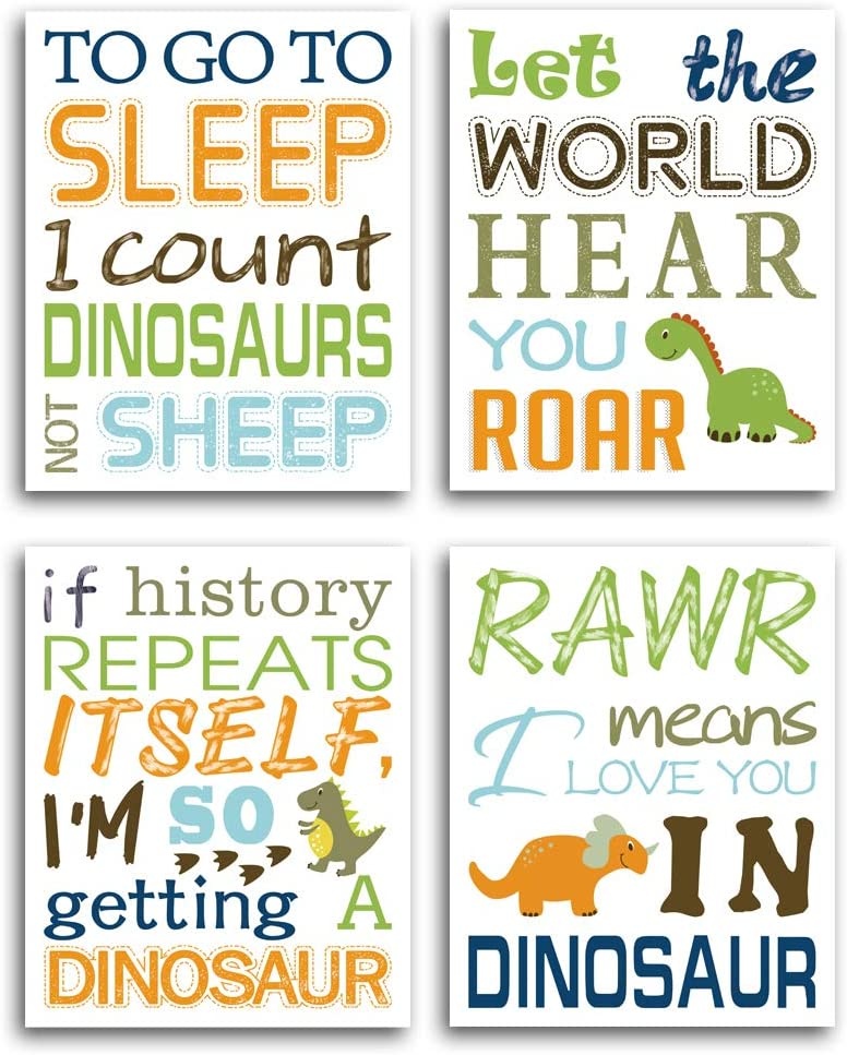Hpniub Watercolor Inspirational Lettering Quote Art Prints Set Of 4 8 X10 Wildlife Animal Dinosaur Typography Canvas Poster For Kids Baby Bedroom Or