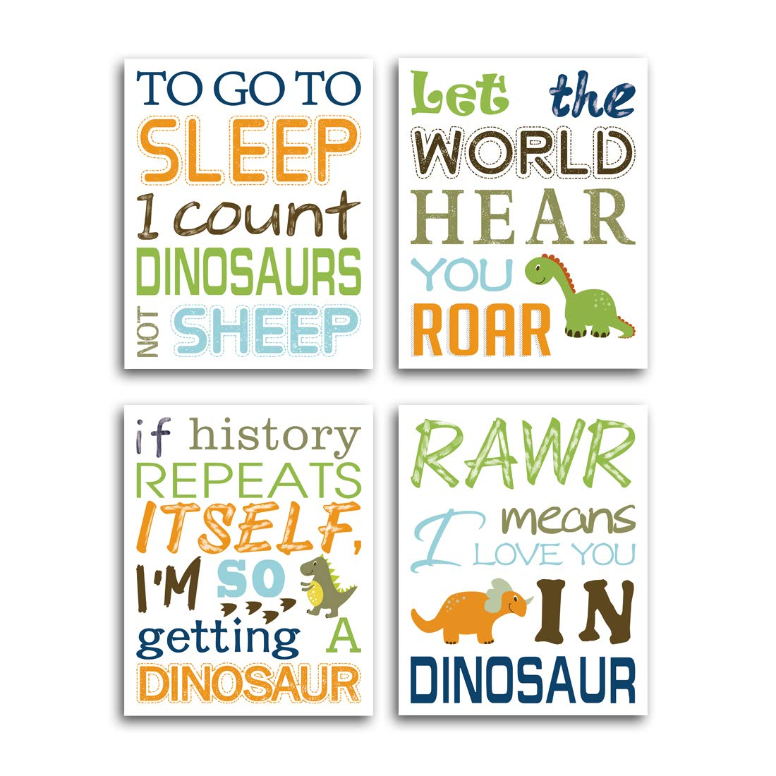"HPNIUB Watercolor Inspirational Lettering Quote Art Prints Set of 4 (8""X10"" Wildlife Animal Dinosaur Typography Canvas Poster for Kids Baby Bedroom Or Classroom Decor, No Frame"