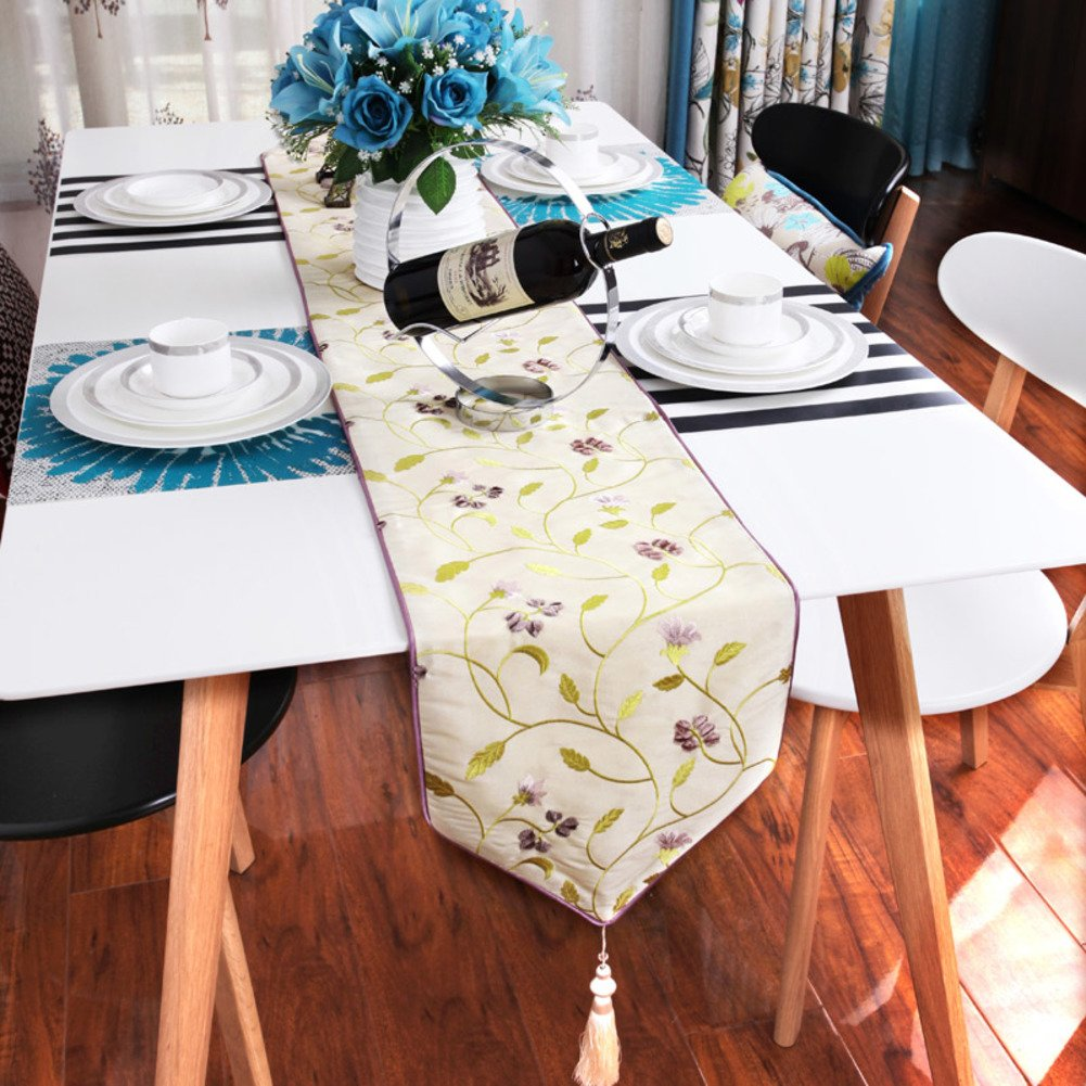 Modern Simple Fashion Table Flag,Chinese Geometric Embroidery Table Cloth,Coffee Table Cloth Bed Flag Flag-C 29x260cm(11x102inch) by JIN Tablecloths