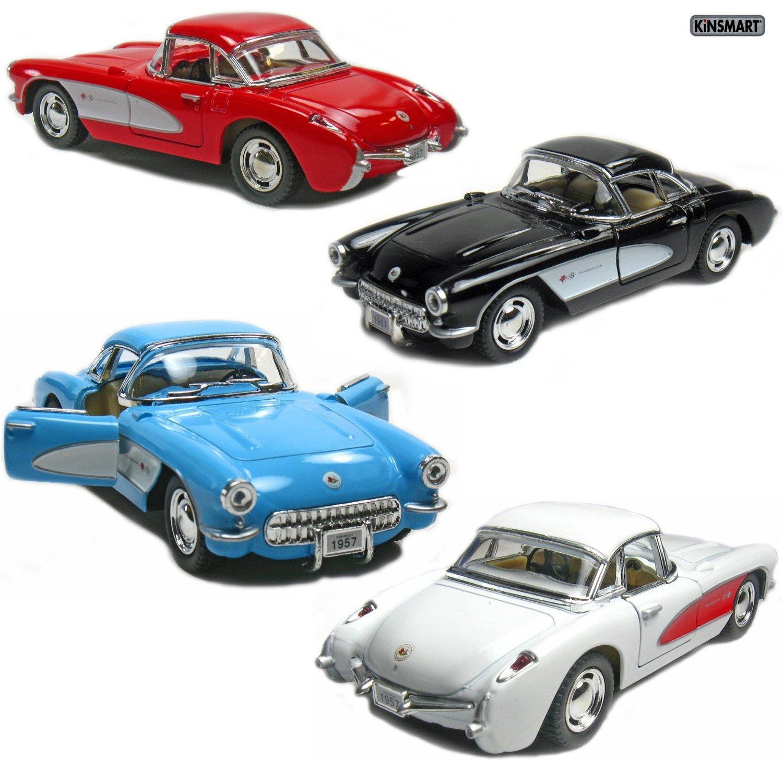 Set of 4: 5'' 1957 Chevy Corvette 1:34 Scale (Black/Blue/Red/White) by Kinsmart