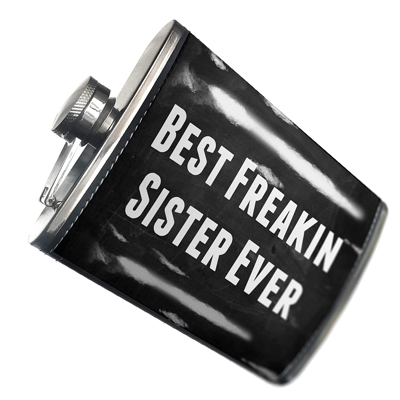 8 oz Flasque couture Best Sister Ever Freakin Neonblond en acier inoxydable