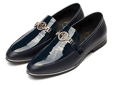 b36c1b4cc4de5 OPP Designer Men's Smooth Leather Slip On Metal Bit Detail Low Heel Loafer  Shoes