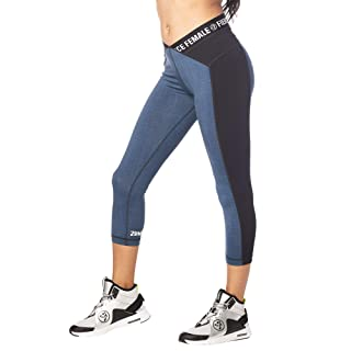 Zumba Fitness Wide Jacquard Tight Shaping Waistband Booty Lifting Pants Workout Print Capri Compression Leggings For Women, Small, Z Denim