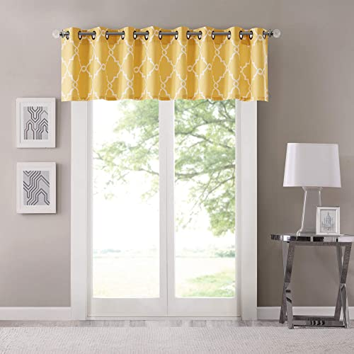 Madison Park Saratoga Window Curtain Light Filtering Fretwork Print 1 Panel Grommet Top Drapes Valance for Living Room Bedroom and Dorm, 50×18, Yellow