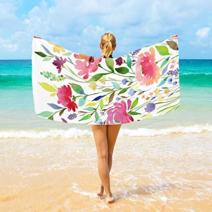 Amazon.com: Jacksome Flowers Toalla de playa de microfibra ...
