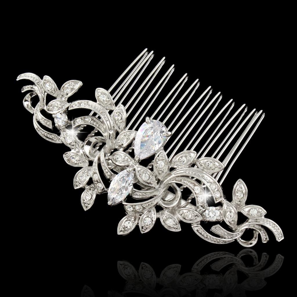EVER FAITH Wedding Leaf Wave Hair Side Comb Clear Zircon Crystal Silver-Tone by EVER FAITH (Image #4)