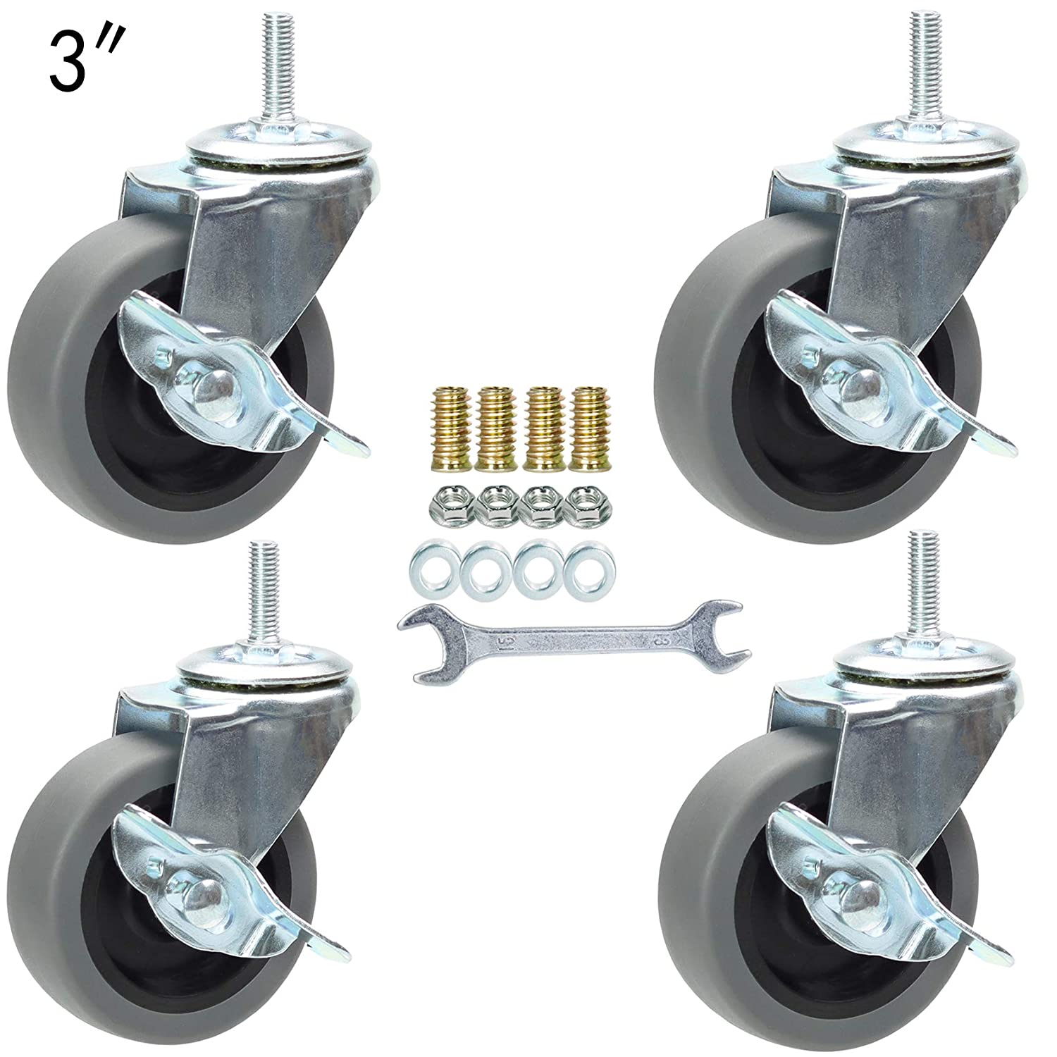 3 Inch Swivel Stem Caster Wheels with Brake Set of 4, M8-1.25 Threaded Stem Industrial Rubber Casters, Replacement for Furniture Workbench and Trolley.(Grey)