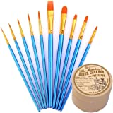 General Pencil Masters Brush Cleaner & Preserver and Pixiss Acrylic Paint Brush 10 Piece Set, Nylon Hair Brushes for All…