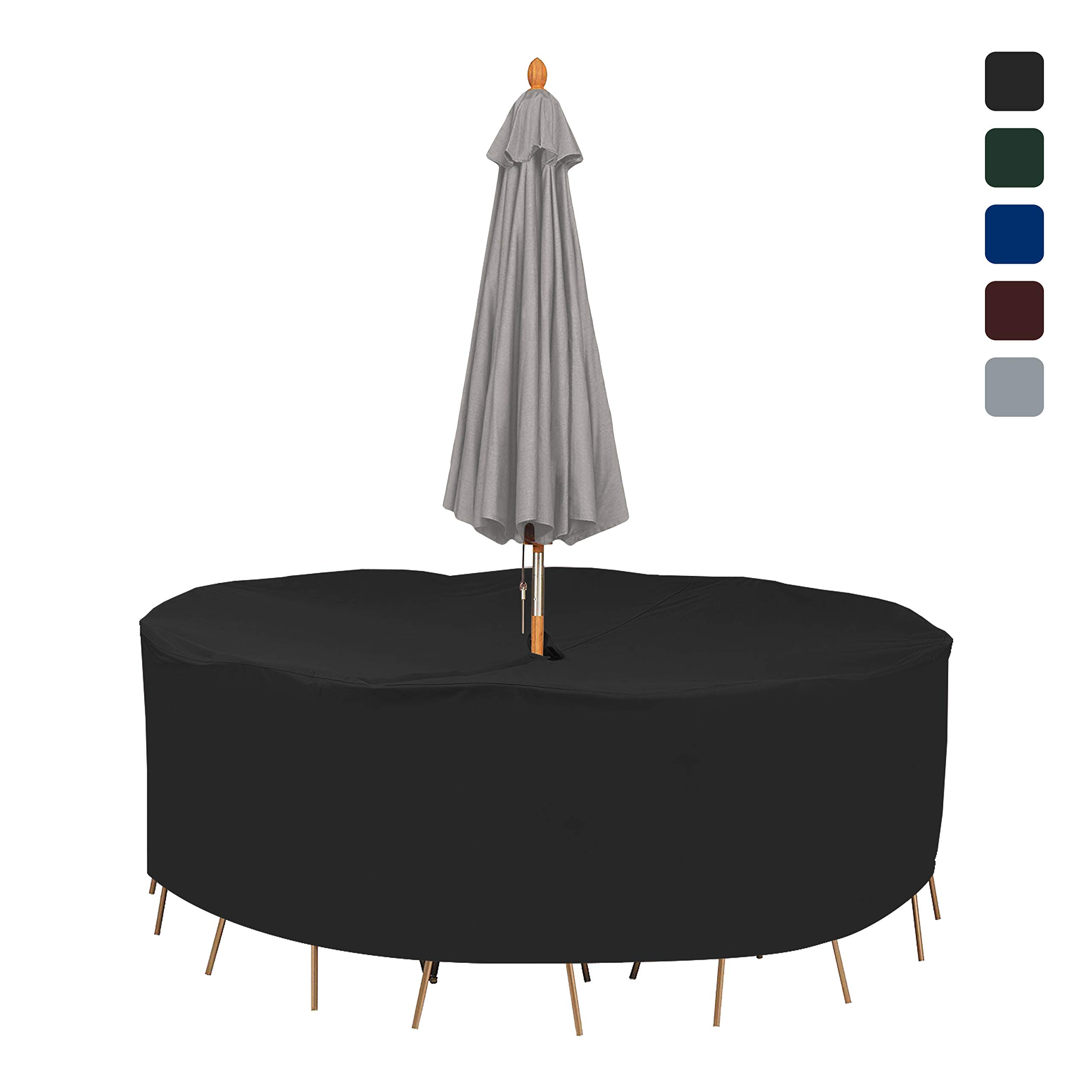 Patio Round Table & Chair Set Cover with Umbrella Hole 18 Oz Waterproof - 100% UV & Weather Resistant Outdoor Table Cover with Air Pocket and Drawstring for Snug Fit (94'' Dia x 30'' H, Black)