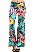 Vialumi Women's Juniors Colorful Tropical Print Palazzo Pants Aqua Multi