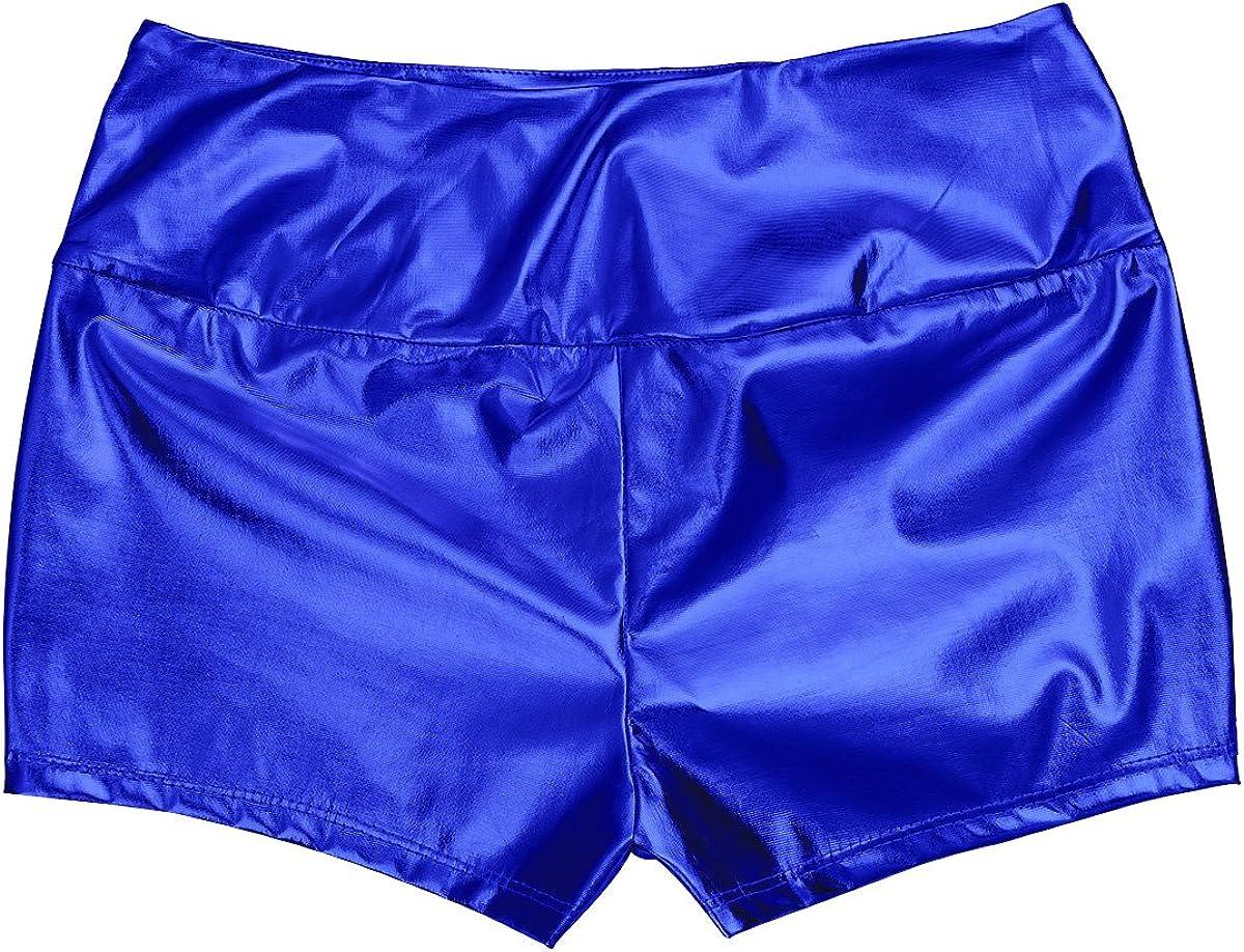 TiaoBug Femme Short de Danse Ballet Short en Cuir Verni Brillant Short Taille Haut Bermudas Cale/çon Slim Fit Short de Bal Short de Soir/ée Short de Club Short S-XXL