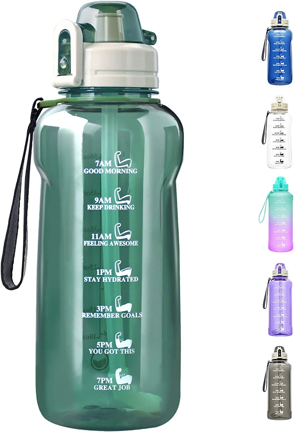 64 OZ Water Bottle Large Half Gallon Water Bottle with Straw, Motivational Water Bottles with Time Marker, Leakproof Tritan Bpa Free Water Jug with Paracord Handle for Fitness,Gym and Outdoor Sports