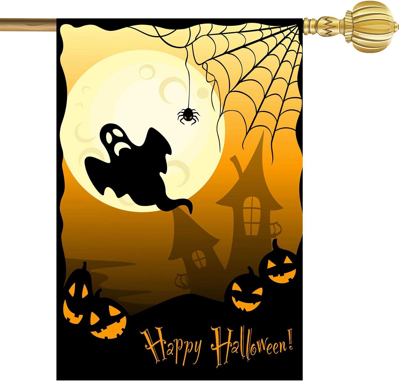 Mocossmy Halloween Garden Flag - Spooky Ghost Pumpkin Spiderweb Castle Decorative Garden Flag Double Sided Outdoor Yard Flag by ACXOP (1)