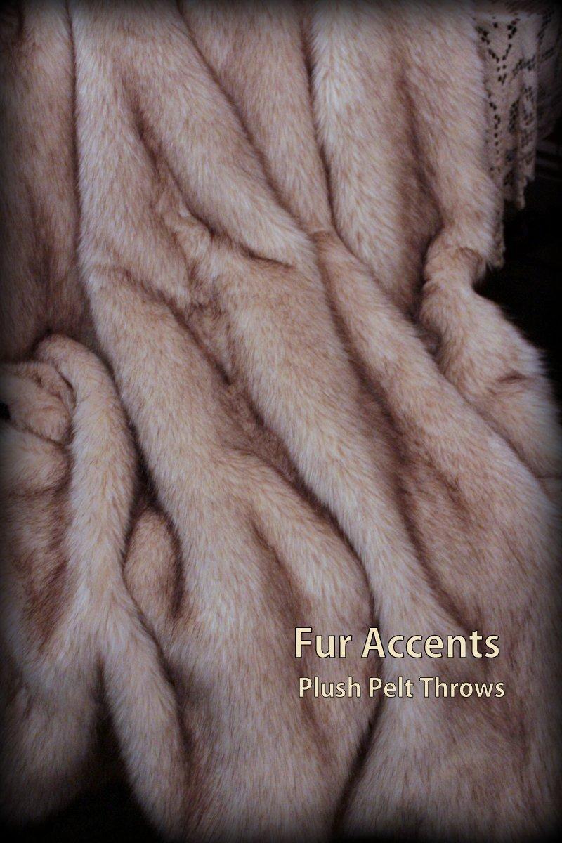 Fur Accents Throw Blanket Brown Tip Arctic Fox Faux Fur 60'' X 70''