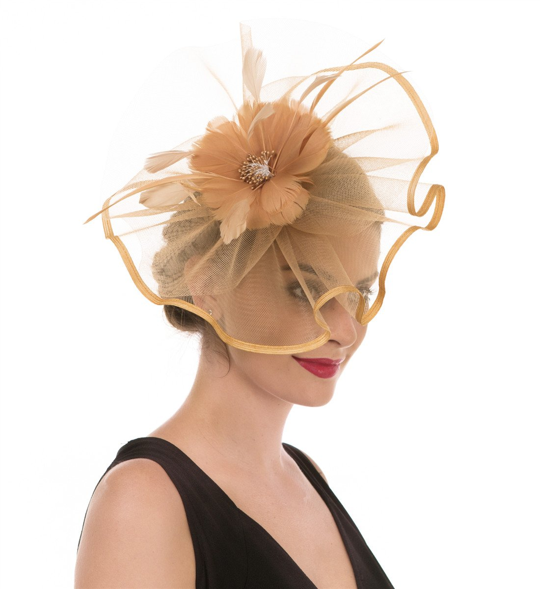 SAFERIN Fascinator Hat Feather Mesh Net Veil Party Hat Flower Derby Hat with Clip and Hairband for Women (TA1-Large Size Khaki Feather Mesh)