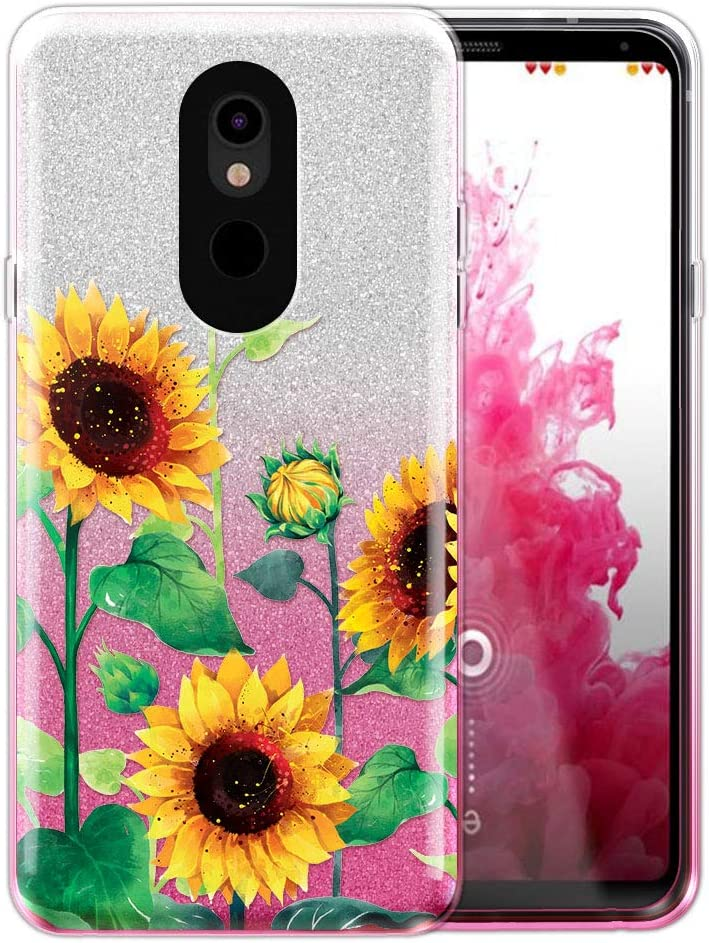 FINCIBO Case Compatible with LG Stylo 5, Shiny Sparkling Silver Pink Gradient 2 Tone Glitter TPU Protector Cover Case for LG Stylo 5 - Sunflowers Flowers