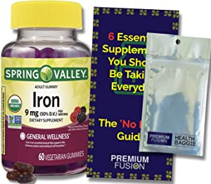 Iron Gummies for Adults 9mg Organic Vegetarian Gummys, 60ct. | Spring Valley + a Vitamin Pouch and Guide to Supplements