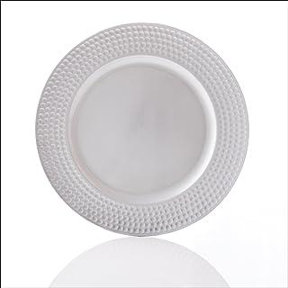 EHC redondo Cargador platos de bajo en plata 33cm, plata–Pack de 4