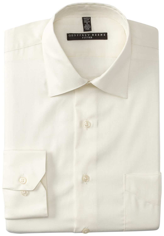 Geoffrey Beene Mens Cutaway Cuff Fitted Sateen Solid Dress Shirt