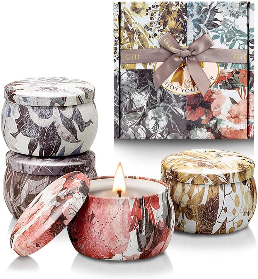 YINUO LIGHT Velas Perfumadas de Regalo, Regalos Originales para Mujer, 100% de Cera de Soja Velas Perfumadas de Lata de Viaje para Aliviar el Estrés, Cumpleaños, Día de San Valentín, Día de La Madre