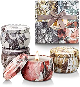 Scented Candles for Home,4.4Oz Soy Wax Aromatherapy Candle Gift Sets for Woman Mom,Portable Travel Tin Candles for Home Decor-4 Pack