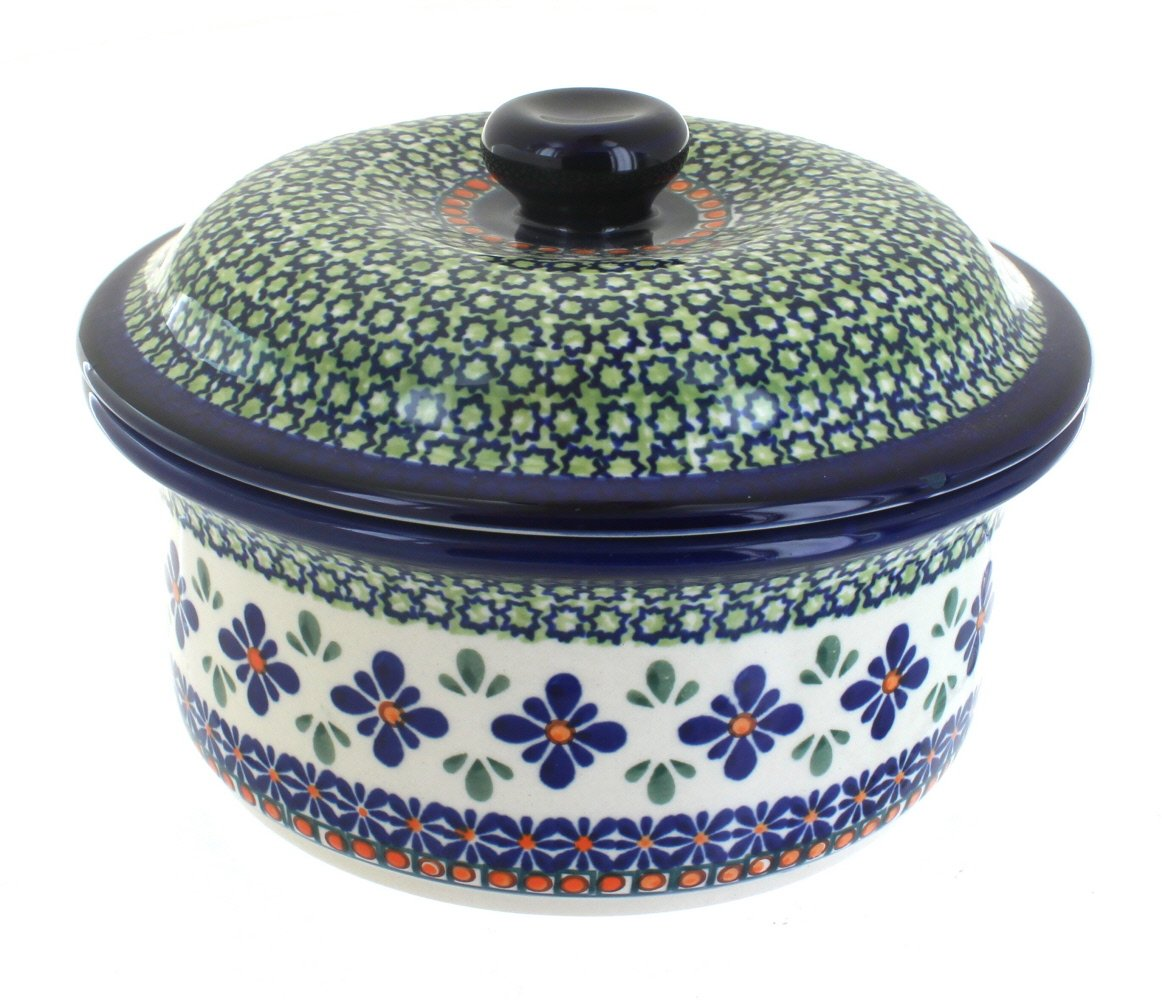 Polish Pottery Mosaic Flower Round Baker with Lid