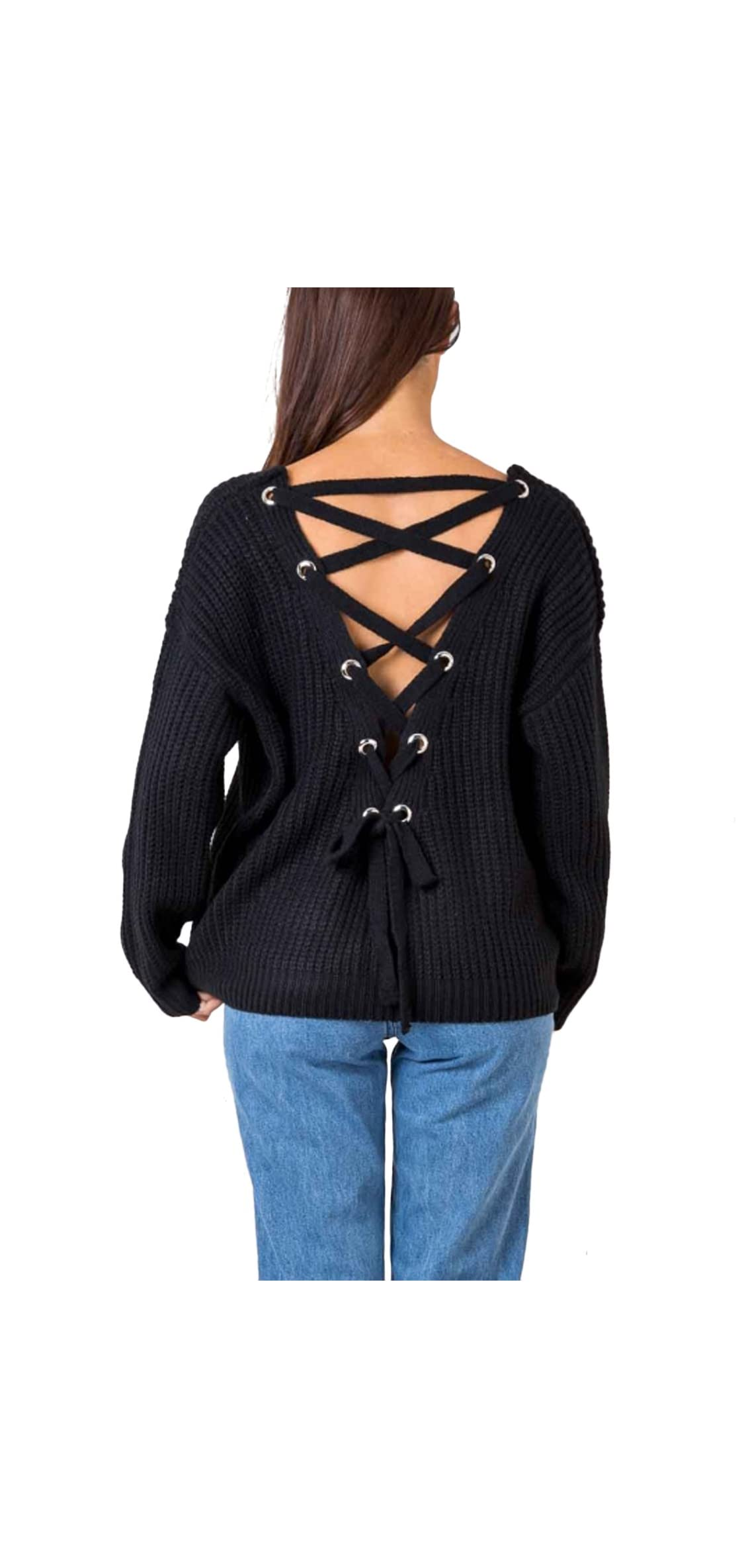 Simplee Women's Autumn Winter Warm Sexy V Neck Lace Up Backless