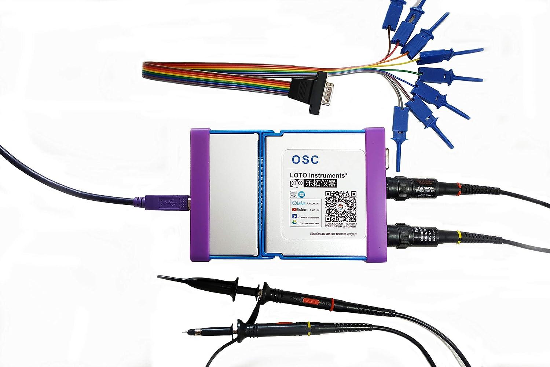 Loto PC Oscilloscope + Logic Analyzer OSCA02L, 2-Channel, 35 MHz Bandwidth, 100M S/s Sampling    USB Oscilloscope +Logic Analyzer (6-Channel TTL Digital inputs)    8~13 bit Vertical Resolution