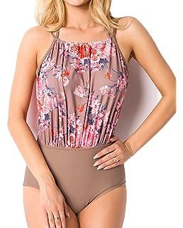 653ff36108b6 Elastischer Damen Push up Neckholder Swimsuit mit Blumen und Blüten Muster  braun bunt Abnehmbare Träger