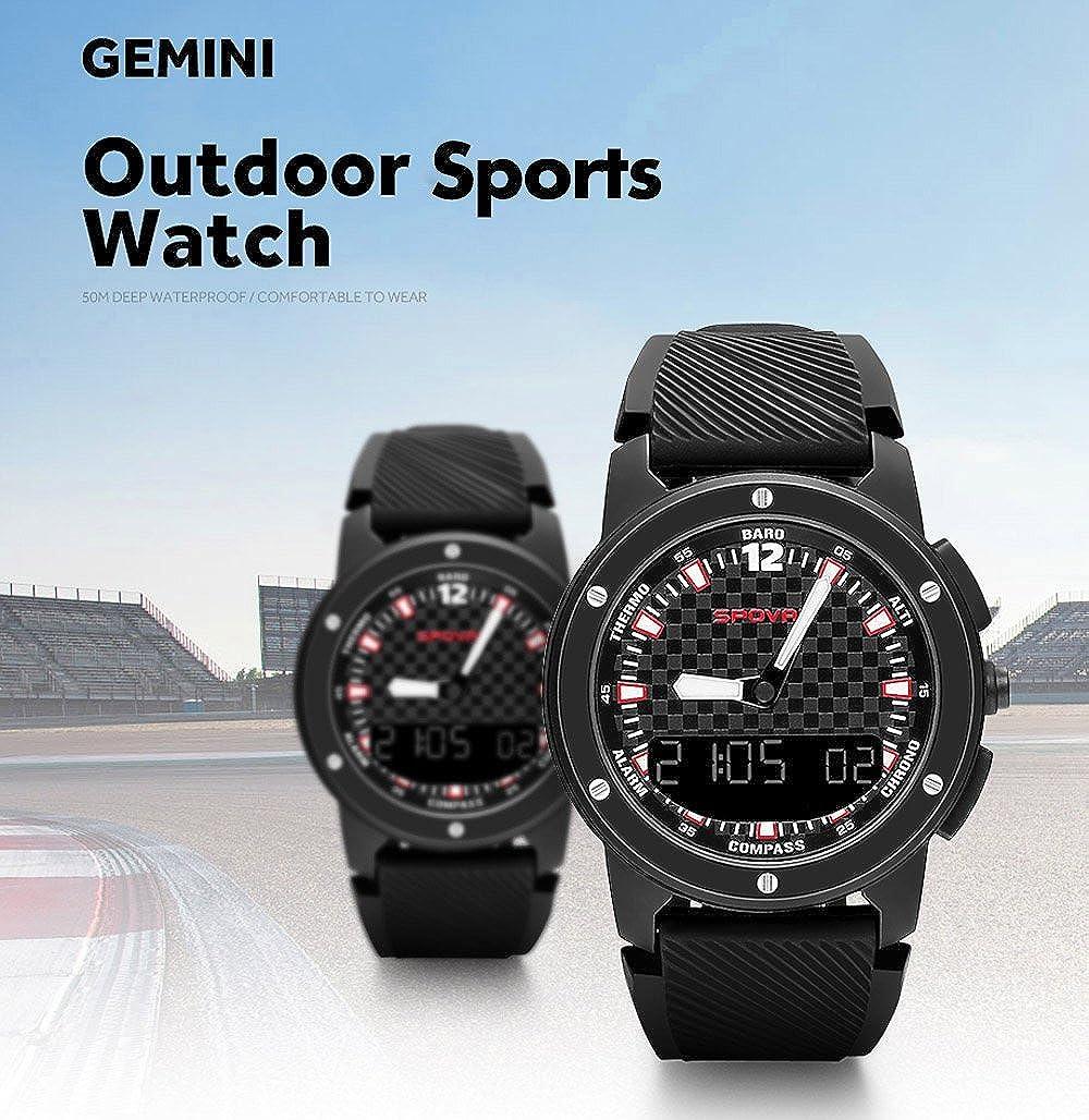 SPOVAN Gemini - Reloj deportivo multifunción para hombre, doble pantalla, con brújula, altímetro, barómetro, termómetro, impermeable, retroiluminación LED: ...