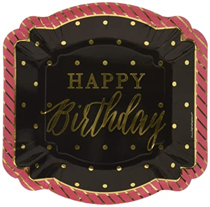 Amazon.com: Chic Feliz cumpleaños – rosa, negro con oro Foil ...