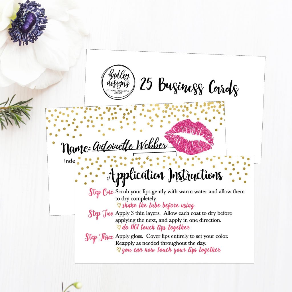 25 Lipstick Business Marketing Cards, How To Apply Application Instruction Tips Lip Sense Distributor Advertising Supplies Tool Kit Items, Makeup Party For Lipsense Younique Mary Kay Avon Amway Seller by Hadley Designs (Image #2)