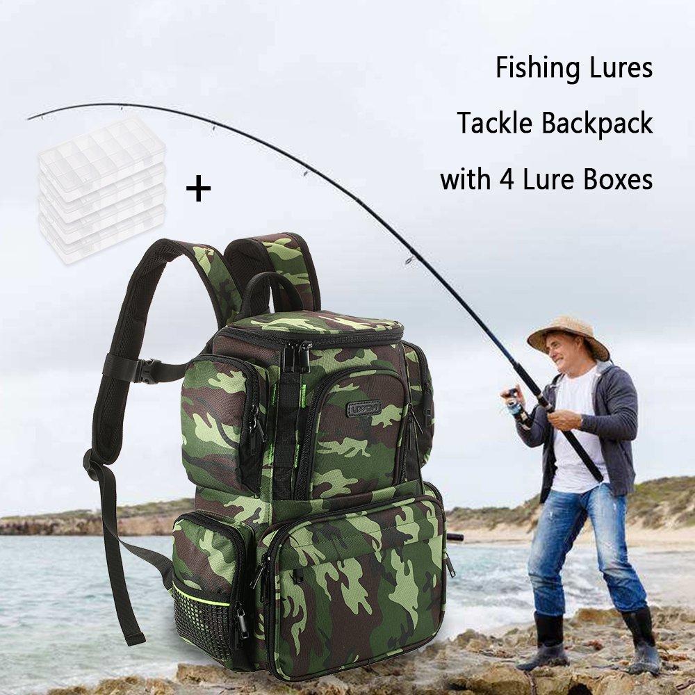 Lixada Bolsa de Tackle Grande Bolsa de los Aparejos de Pesca Multifuncional Pr/áctico Impermeable con 4 Caja de Aparejos de Pesca