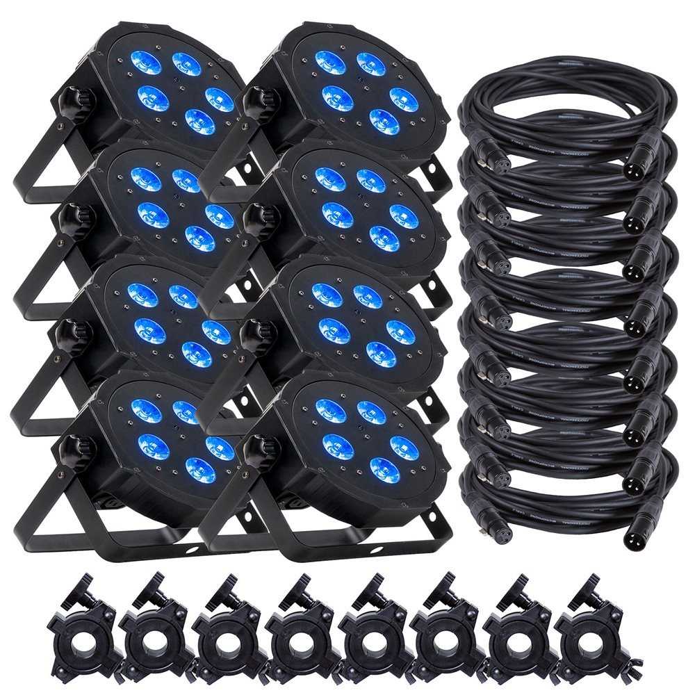 ADJ American DJ Mega Hex Par LED Wash Light 8-Pack w/ Accessories