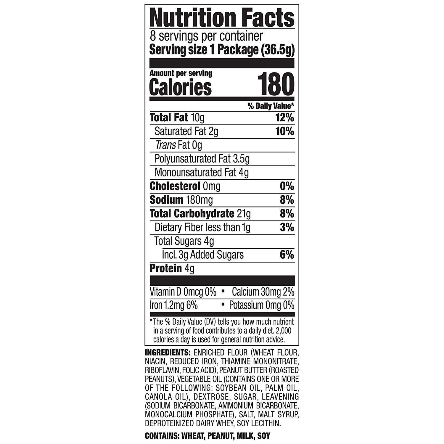 Lance Sandwich Crackers, Malt with Peanut Butter, 8-Count Boxes (Pack of 14) by Lance (Image #5)
