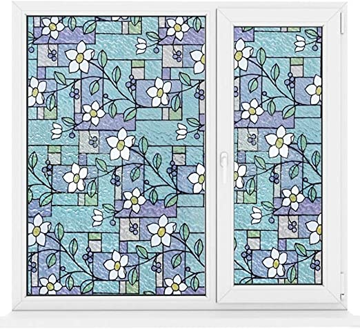 """Water Colors 24/"""" x 36/"""" Decorative Window Film Stained Glass Style Colored Cover"""