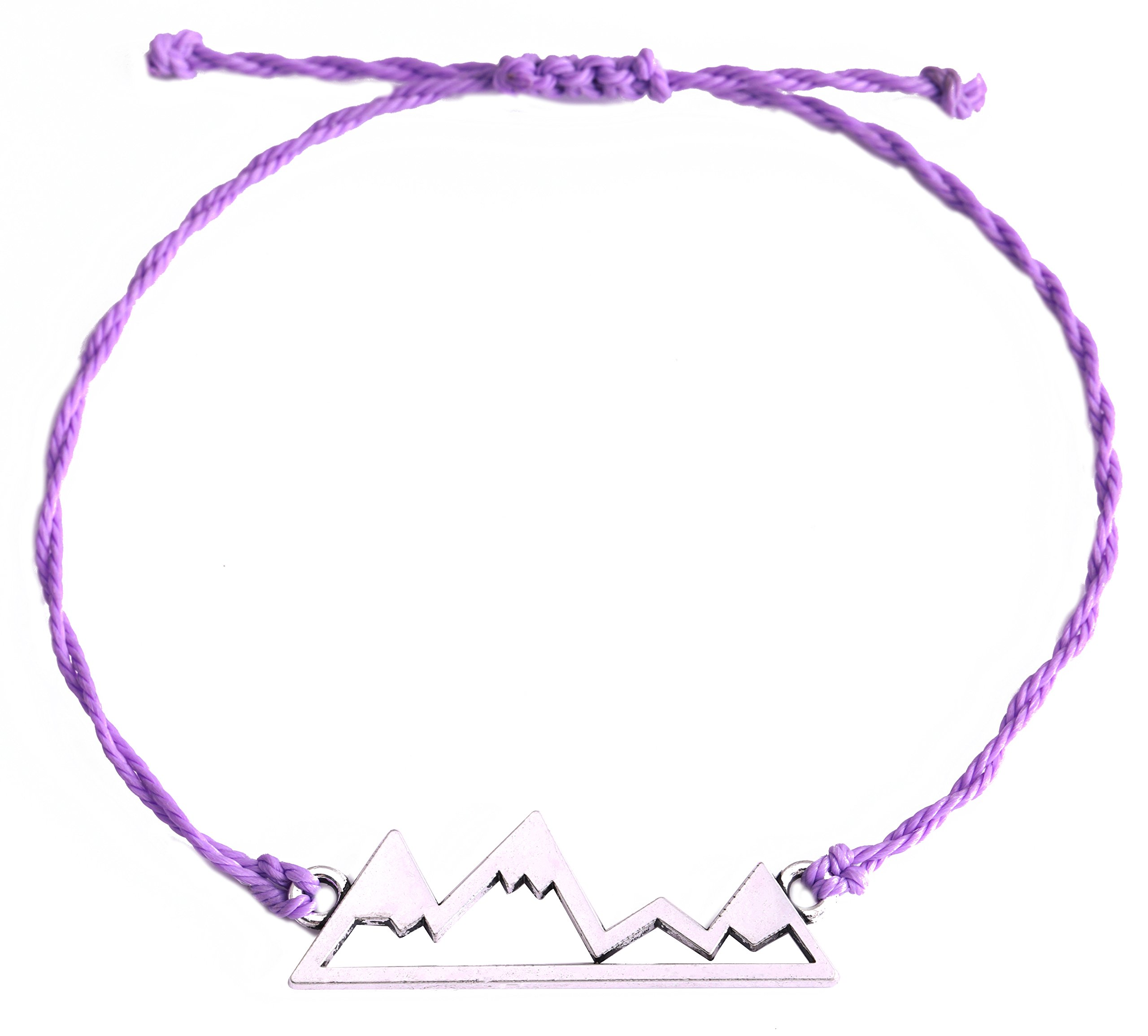 EUEAVAN Exqusite Nature Snow Mountains Hiking Adventure Travel Pendant Wax Cord Adjustable Bracelet (Purple)