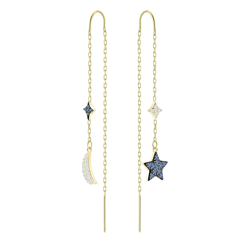13abb75c0 Swarovski Duo Moon Pierced Earrings, Teal, Mixed Plating: Amazon.co.uk:  Jewellery