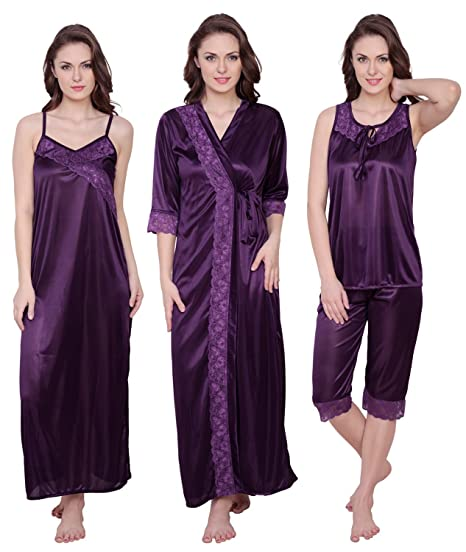 de1888b697 Claura Women s Satin 4 Pieces Long Nighty Robe with Capri-Top (Purple