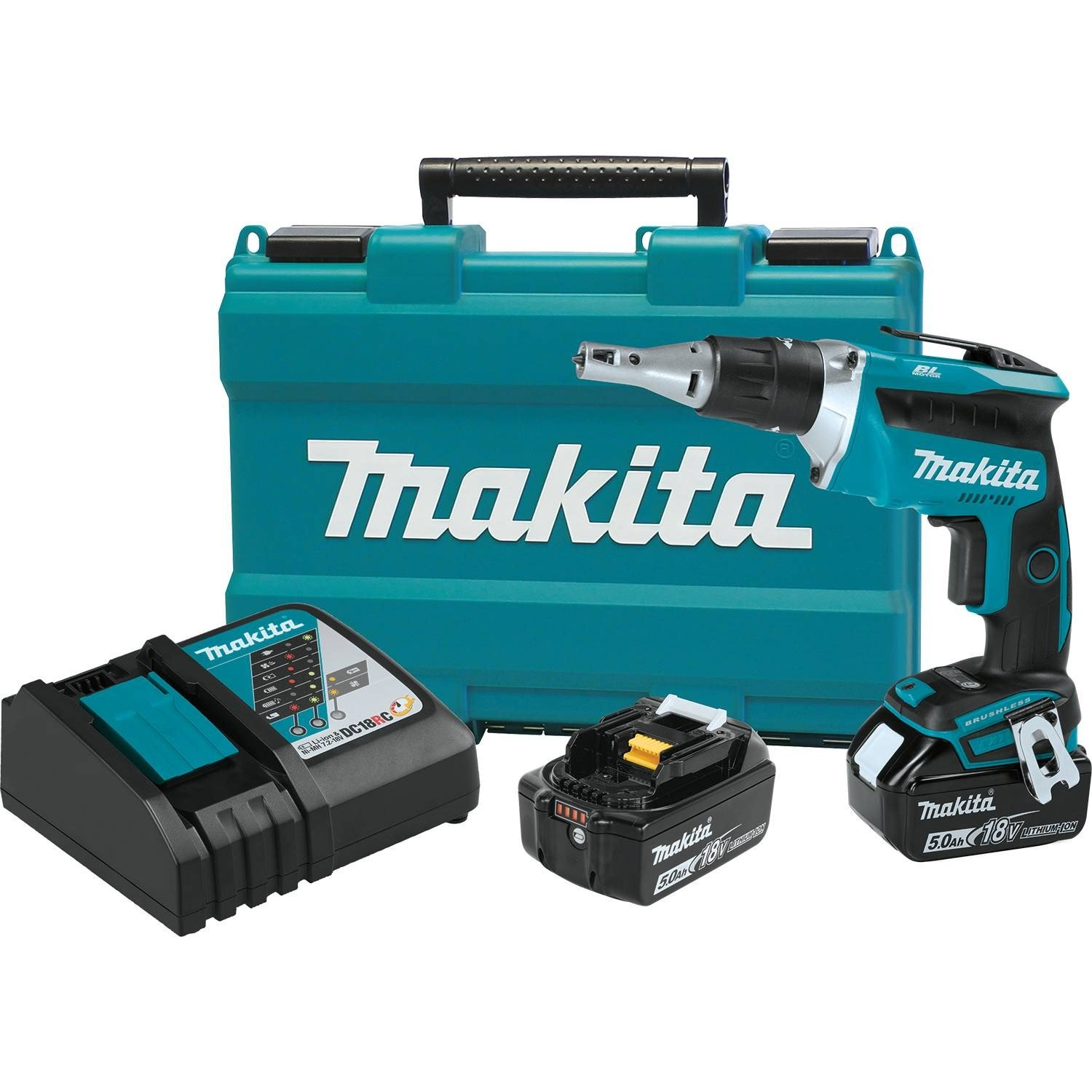 Makita XSF03T 18V LXT Lithium-Ion COMPACT Brushless Cordless Drywall Screwdriver Kit (5.0Ah) by Makita