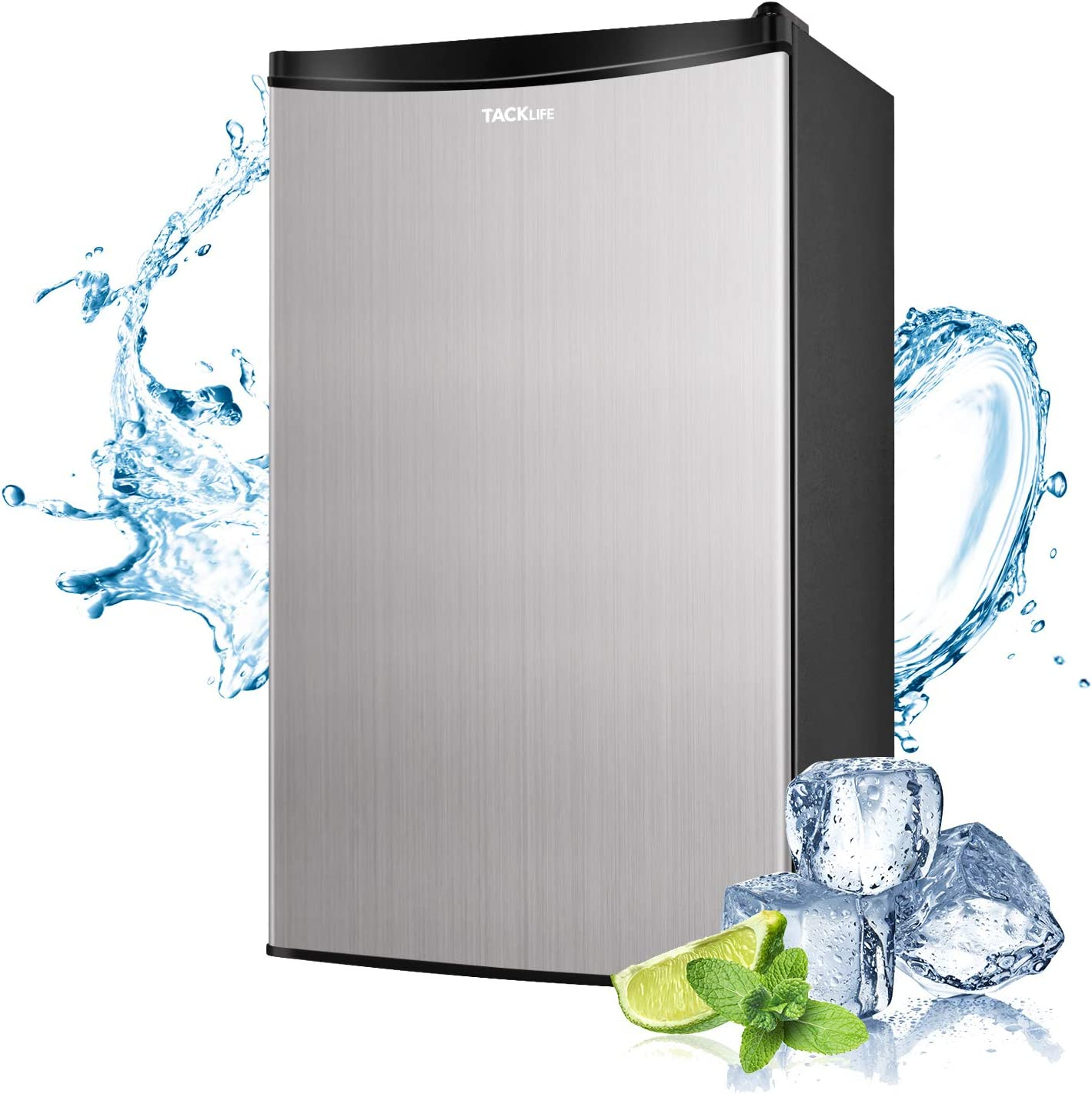 2 Door Mini Fridge with Freezer 3.1 Cu.Ft Compact refrigerator Ideal Small Refrigerator for Bedroom Energy Star Office With LED Light RV HPVFR310 Dorm Stainless Steel