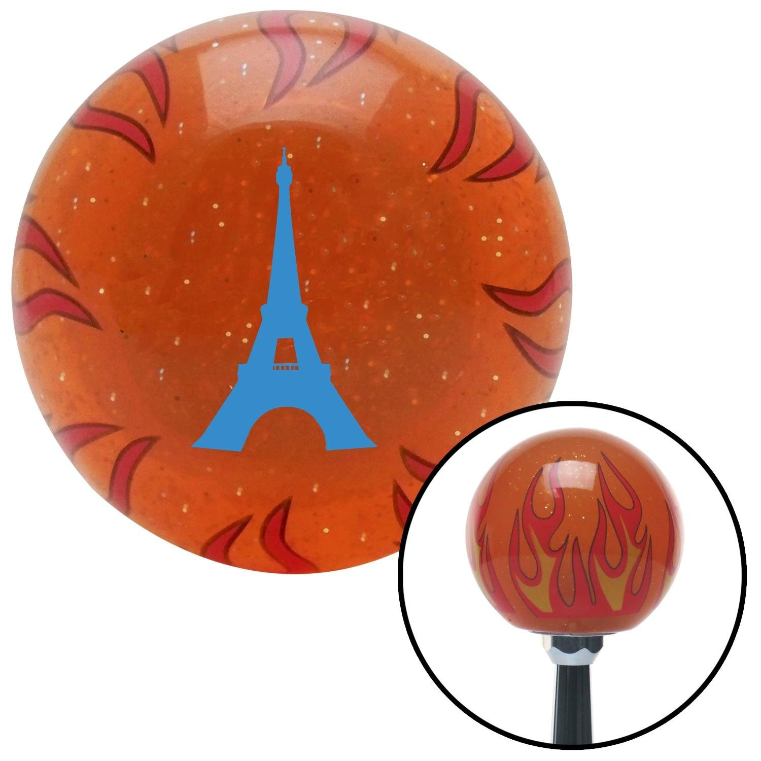 Blue The Eiffel Tower American Shifter 252641 Orange Flame Metal Flake Shift Knob with M16 x 1.5 Insert